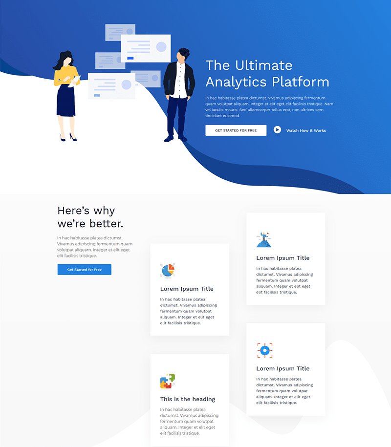 Analytics Landing Page Template - Layouts for Elementor