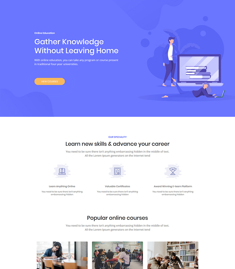 Education E-learning Landing Page Template - Layouts for Elementor