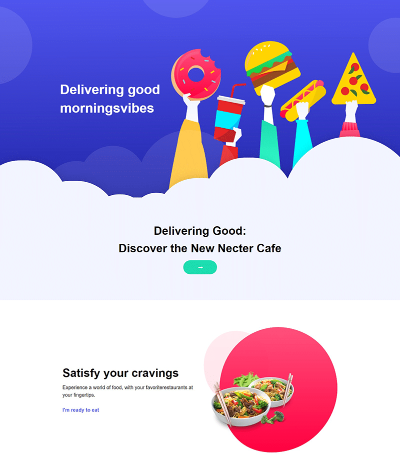 Nectar Cafe Landing Page Template - Layouts for Elementor