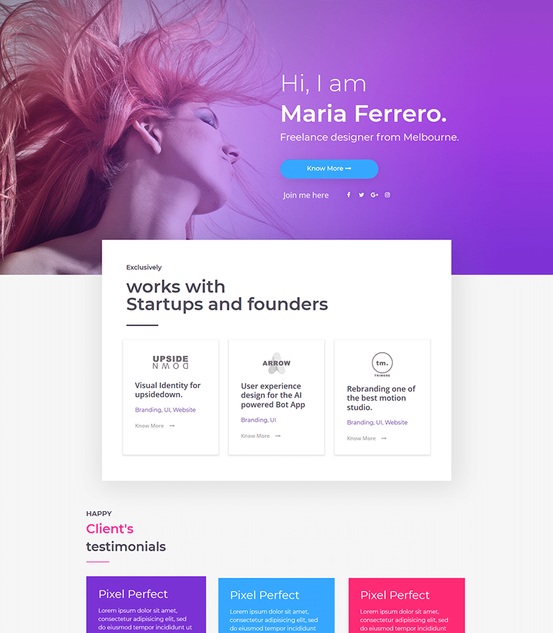 Portfolio Landing Page Template - Layouts for Elementor
