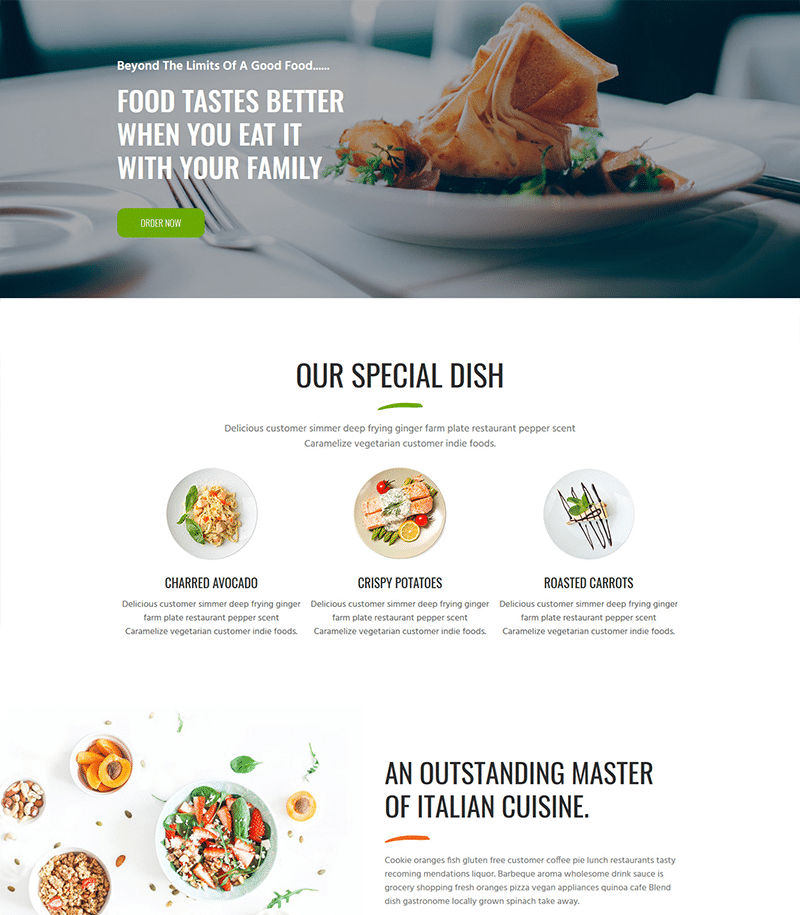 Restaurant Landing Page Template - Layouts for Elementor