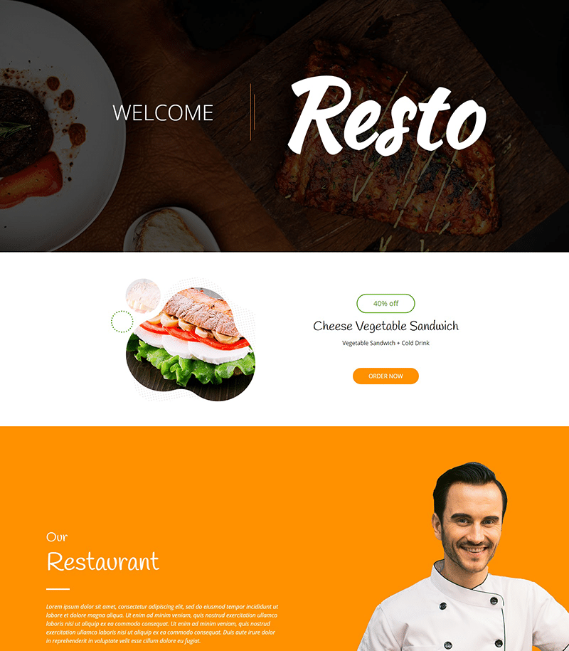 Resto Landing Page Template - Layouts for Elementor