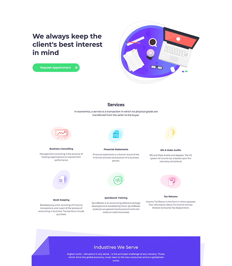 Super Service Mockup Landing Page Template - Layouts for Elementor